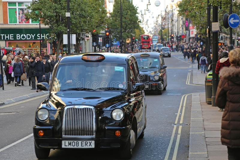 De Taxicabine Oxford Street van Londen royalty-vrije stock afbeelding