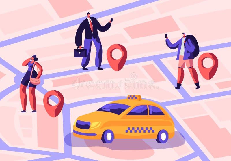 De taxidienst De bestuurder in Geel Cabinewachten en levert Passagiers met Bagage aan Bestemming Mensen die Taxi tot Auto opdrach royalty-vrije illustratie