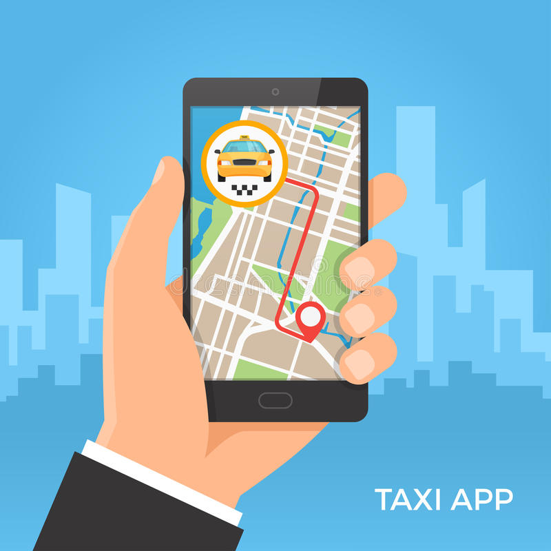 De taxidienst en gps navigatieconcept royalty-vrije illustratie