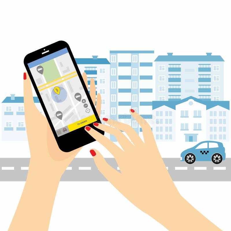 De taxidienst Smartphone en touchscreen, stadswolkenkrabbers vector illustratie