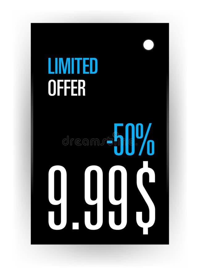 De te adverteren productmarkering beperkte aanbieding voorzien prijs tot 50 percenten vector illustratie