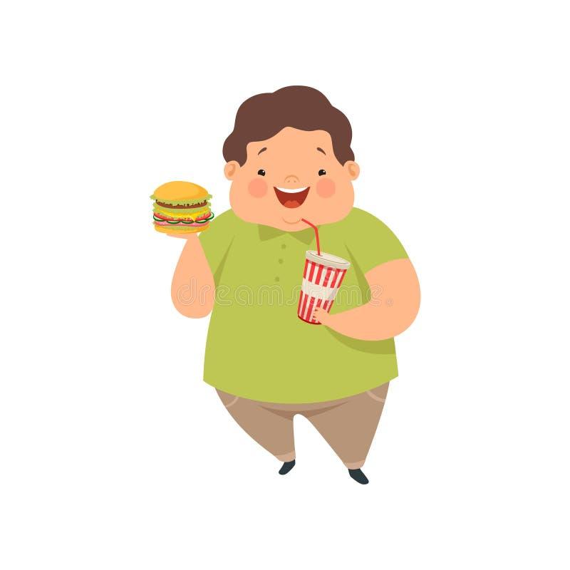 De te zware jongen met hamburger en de soda drinken, leuke mollige het karakter vectorillustratie van het kindbeeldverhaal op een royalty-vrije illustratie