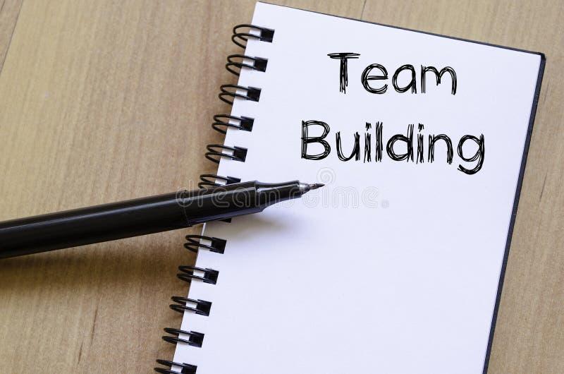De teambouw schrijft op notitieboekje royalty-vrije stock foto