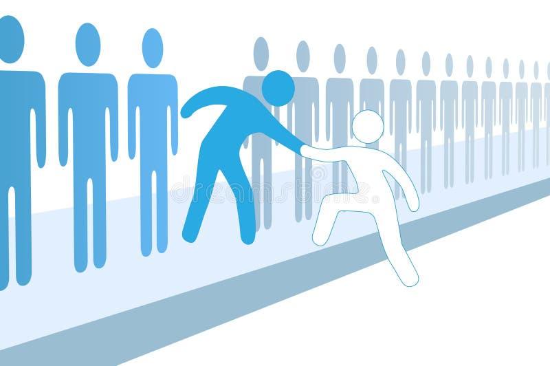 De teammensen helpen nieuw lid omhoog toetreden vector illustratie