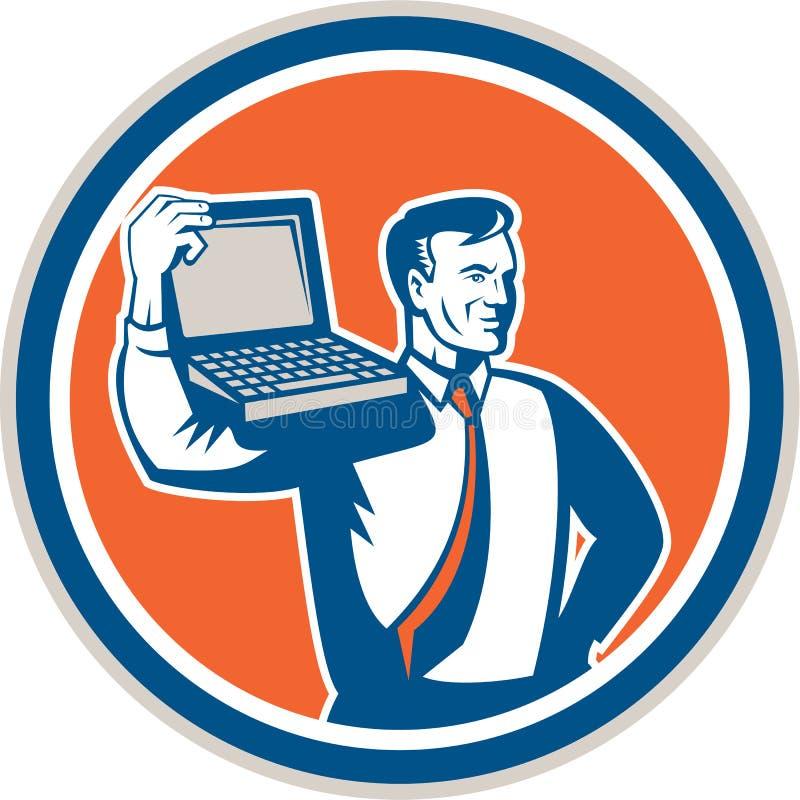 De Technicus Laptop Circle Retro van computergeek vector illustratie