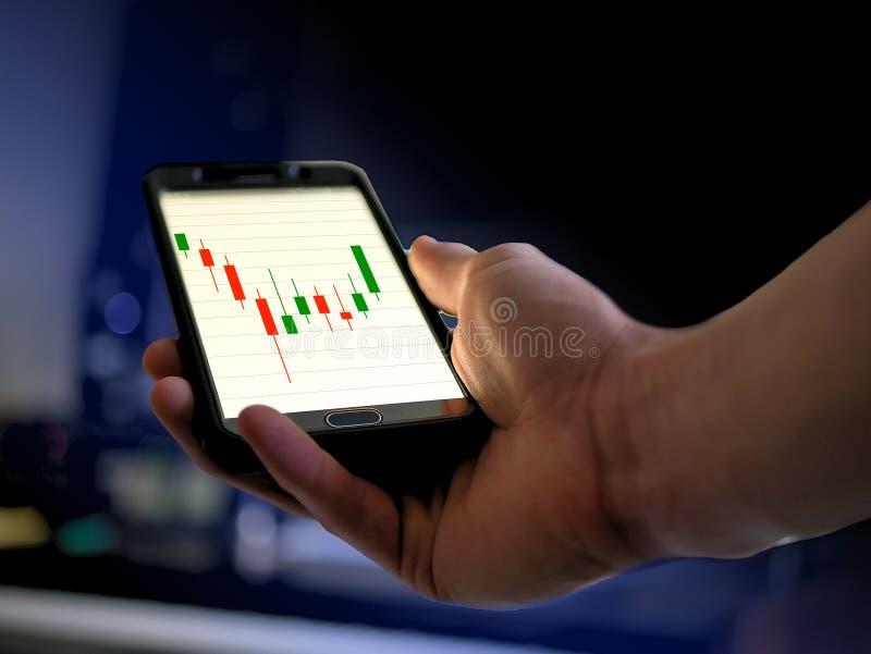De technische grafiek van de Analysekandelaar grafisch op slimme telefoon voor cryptocurrency, bitcoin, litecoin, ethereum royalty-vrije stock afbeelding