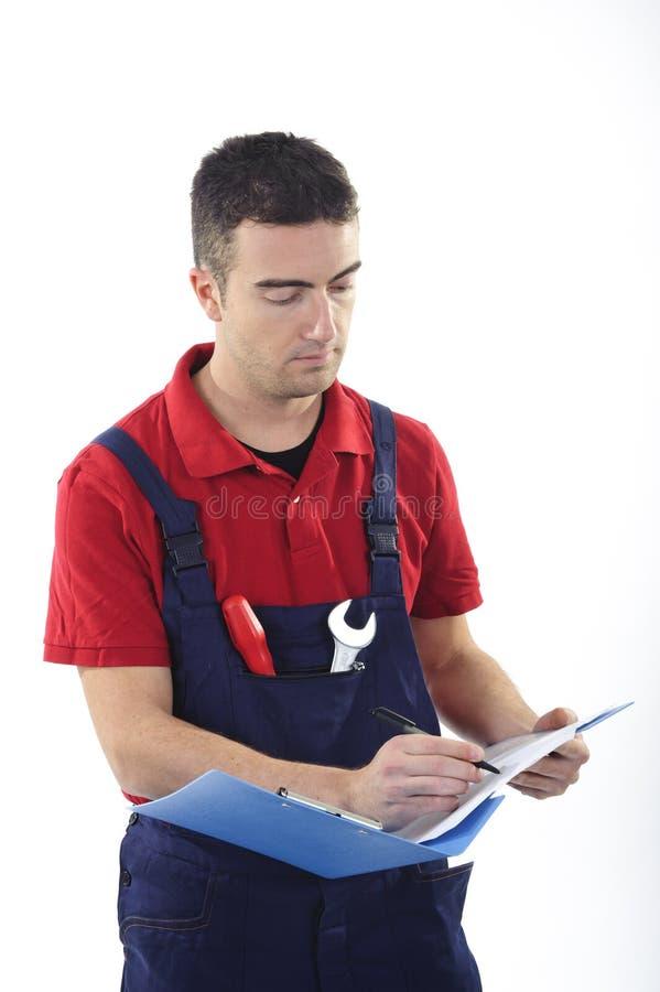 De technische instructies van de arbeider royalty-vrije stock afbeelding