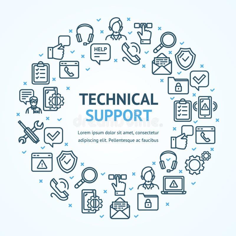 De technische ondersteuningtekens om Ontwerpsjabloon verdunnen de Bannerconcept van het Lijnpictogram Vector stock illustratie