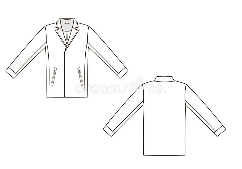 De technische schets van maniermensen van jasje in vectorafbeeldingen vector illustratie