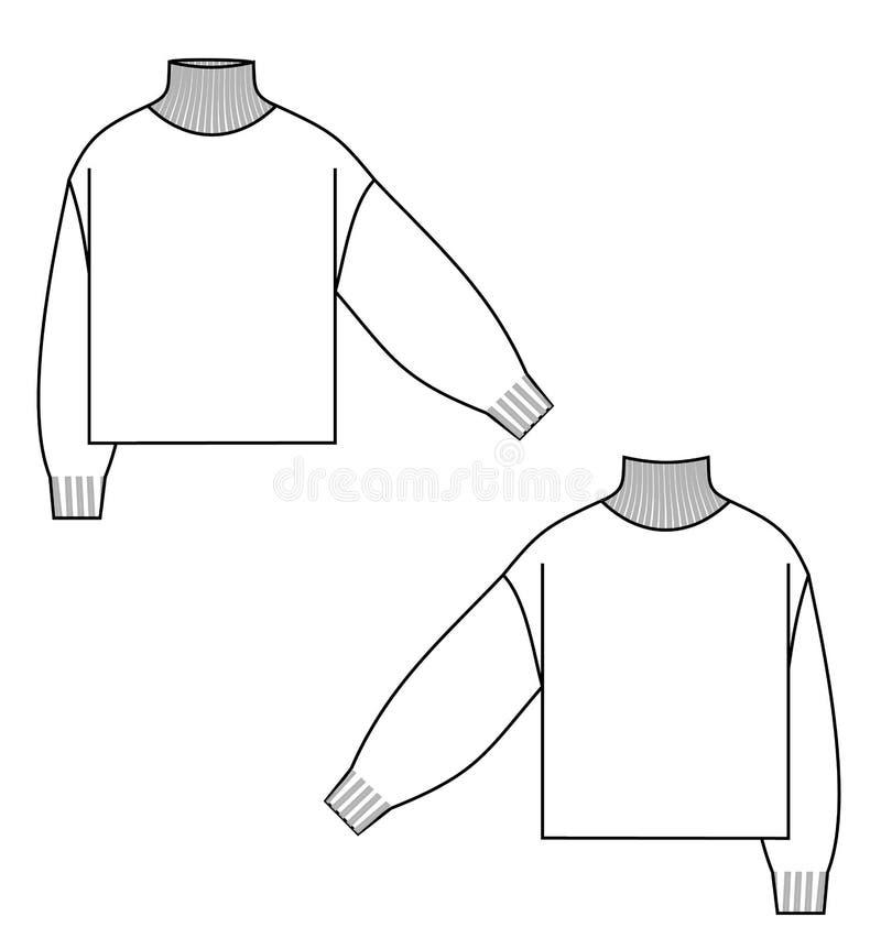 De technische schets van de sweatercol royalty-vrije illustratie