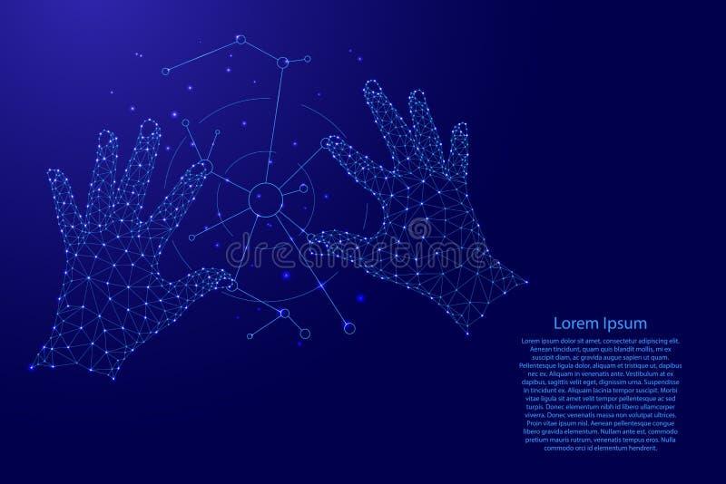 De technologieën die van Cyberinnovaties toekomstige de automatiseringsrobots van mensenapparaten van futuristische veelhoekige b vector illustratie