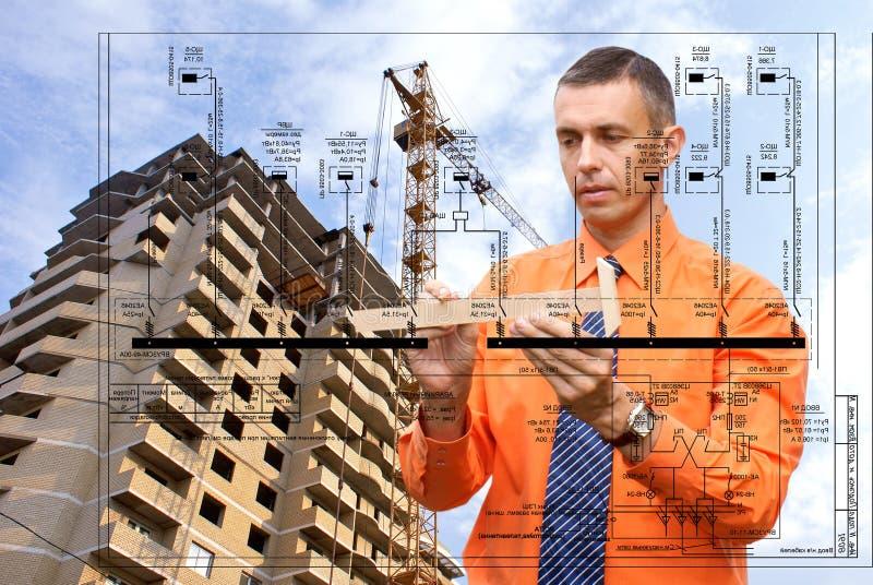 De technologieën van het ontwerp in de bouw stock foto's