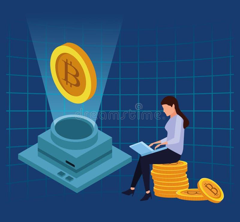 De Technologie van Bitcoincryptocurrency royalty-vrije illustratie