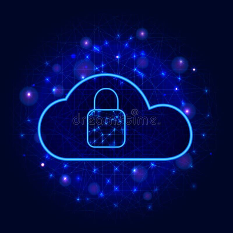 De technologie van de Cyberveiligheid Beveilig het concept van de wolkenopslag Digitaal gegevensbeschermingontwerp met slotpictog royalty-vrije illustratie
