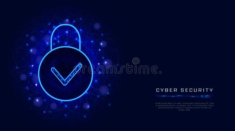 De technologie van de Cyberveiligheid en het veilige concept van de de privacybescherming van wolkengegevens met hangslotpictogra vector illustratie