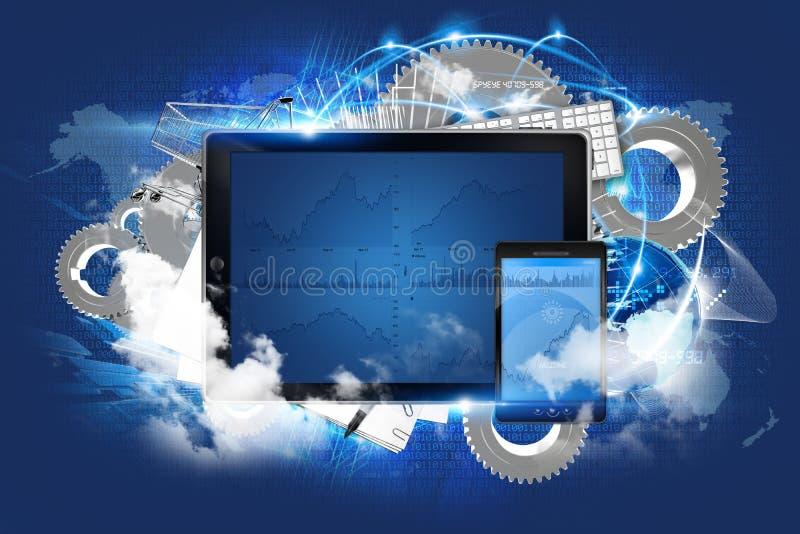De Technologie van de wolkenserver stock illustratie