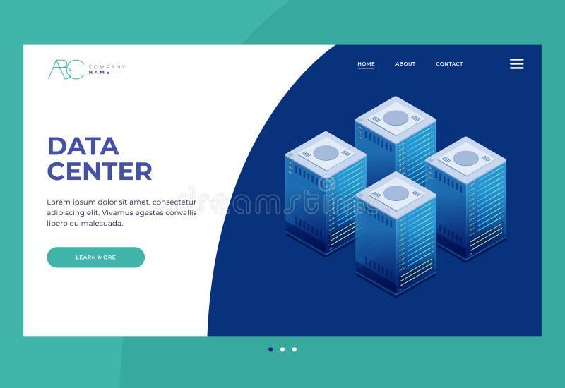 De technologie van de gegevenstransmissie Illustratie van de server van de netwerktelecommunicatie stock illustratie