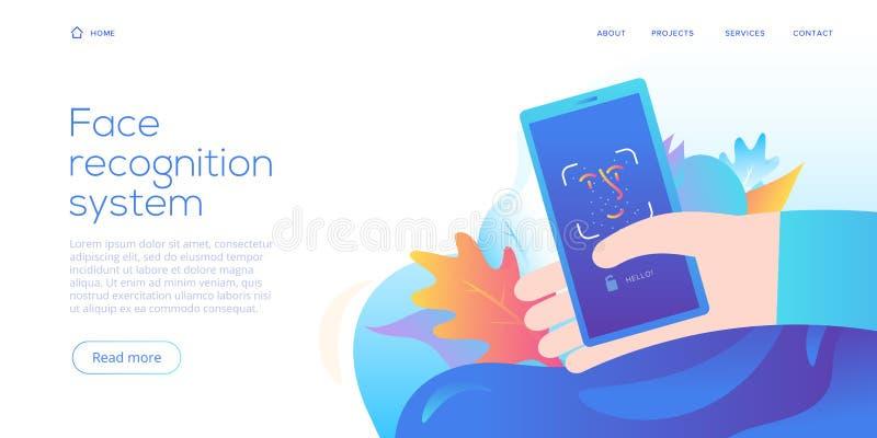 De technologie van de gezichtserkenning in creatieve vlakke vectorillustratie Smartphone-het veiligheidssysteemconcept van identi royalty-vrije illustratie