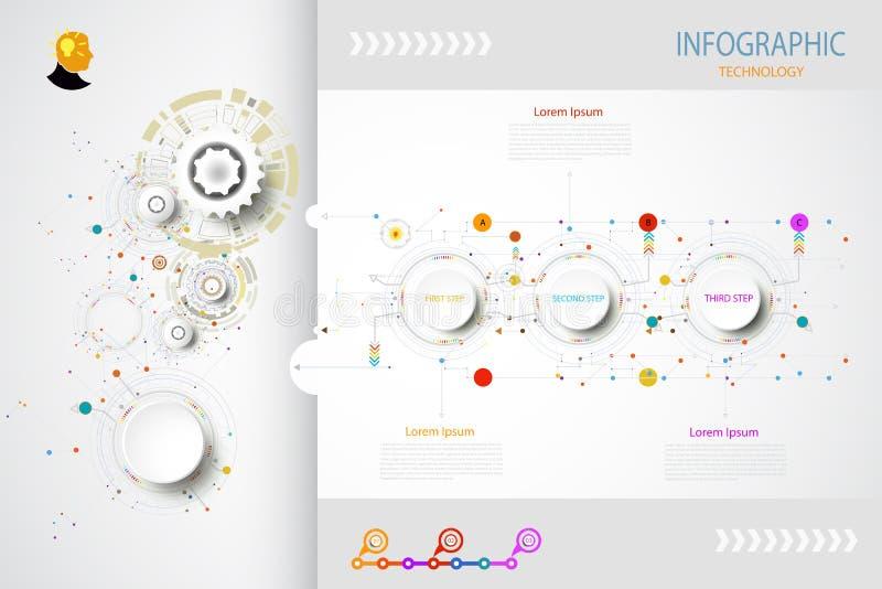 De technologie van het Bedrijfs infographicsmalplaatje concept met 3 opties royalty-vrije illustratie
