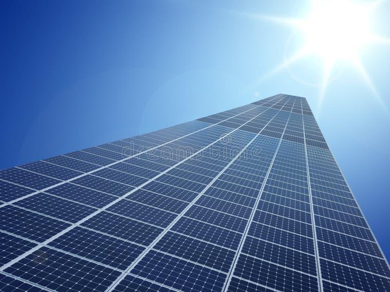 De technologie van het de energienet van de zonnecelmacht op hemelachtergrond stock foto's