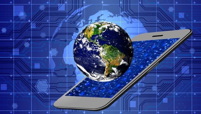 De technologie van het wereldnetwerk de mobiele mededeling van de aardetechnologie royalty-vrije illustratie