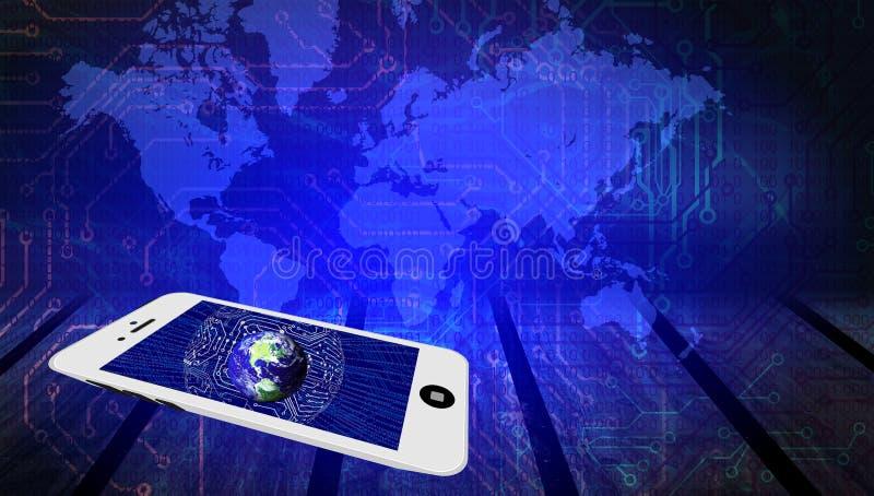 De technologie van het wereldnetwerk Technologiemededeling vector illustratie