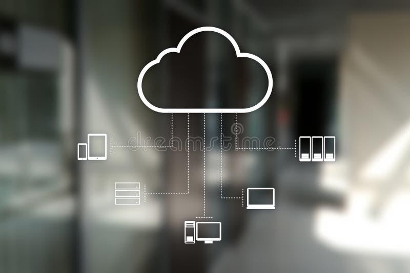 De technologie van de wolk Laptop en dossierkabinet met ringsbindmiddelen Voorzien van een netwerk en Internet-de dienstconcept stock foto