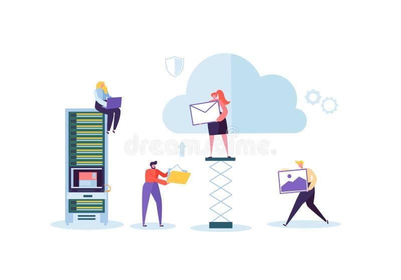De technologie van de wolkenopslag Man en Vrouw die samen het Delen van de Overdrachtomslagen van de Gegevensinformatie werken vector illustratie