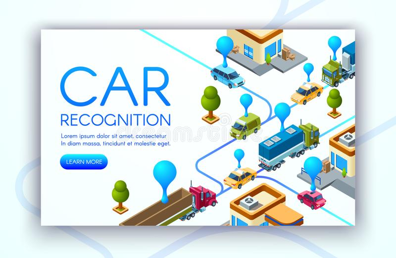 De technologie vectorillustratie van de autoerkenning stock illustratie