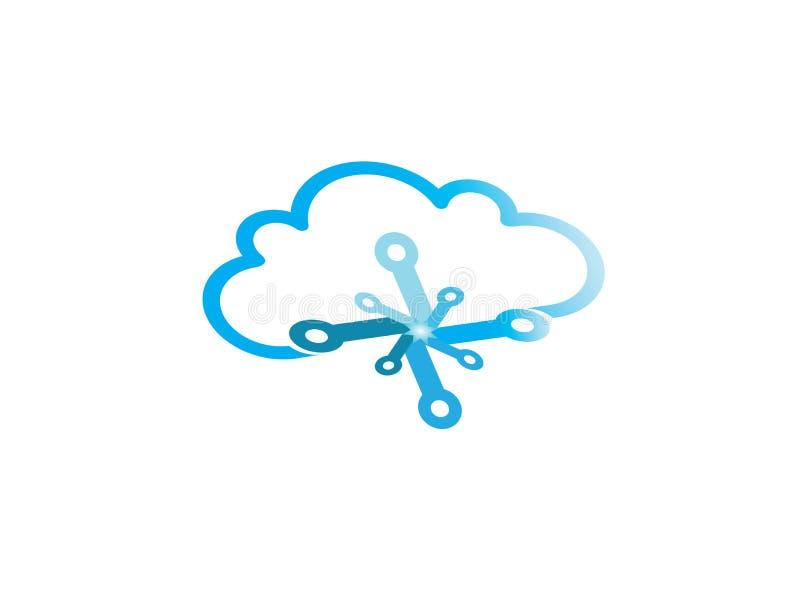 De technologie verbindt aan het embleem van het wolkensymbool vector illustratie