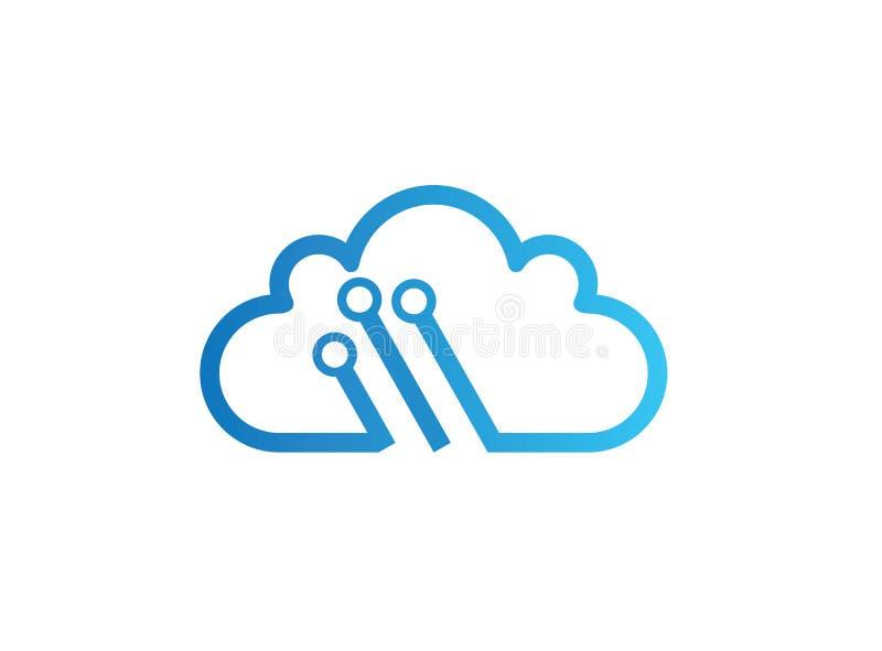 De technologie verbindt aan de illustratie van het het embleemontwerp van het wolkensymbool, high-tech pictogram, het symbool van royalty-vrije illustratie