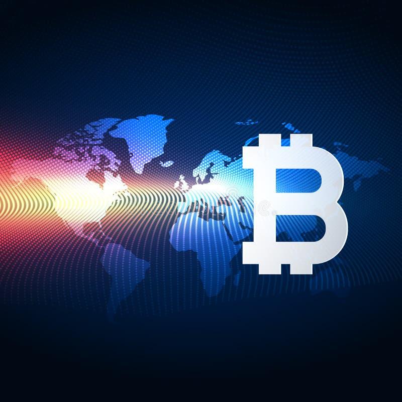 De technologieachtergrond van de Bitcoins digitale munt stock illustratie