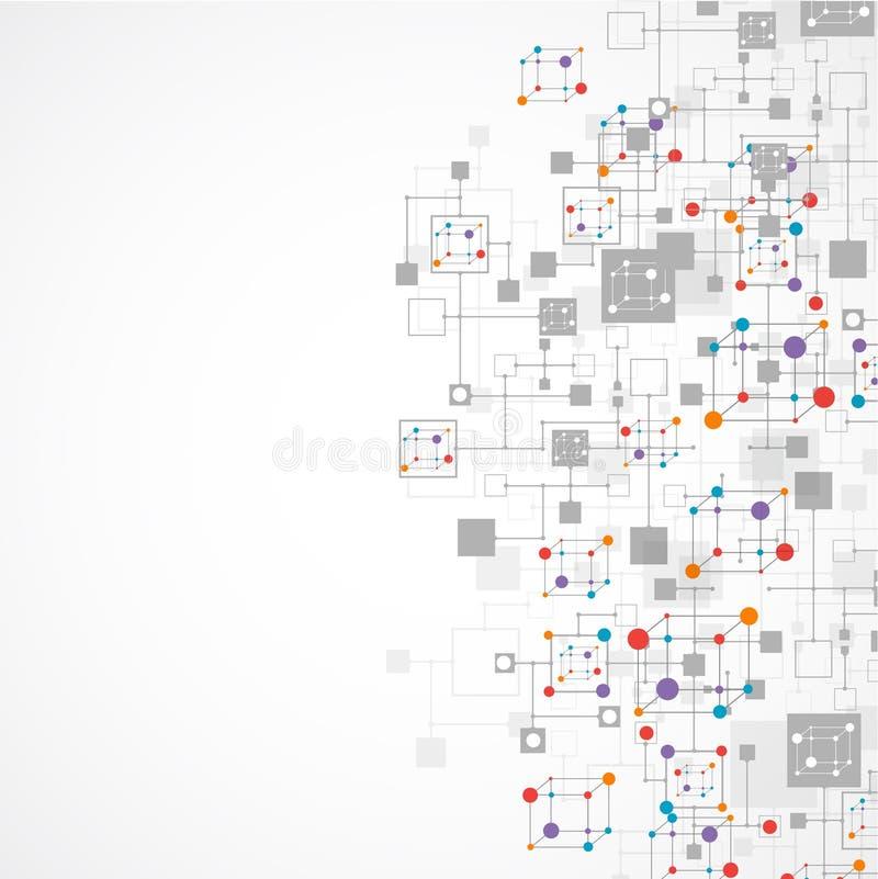 De technologieachtergrond van de netwerkkleur royalty-vrije illustratie