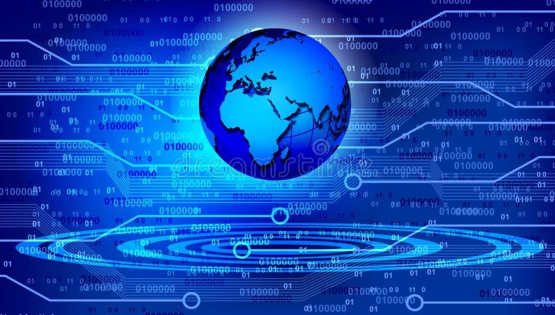 De technologieachtergrond van de wereldkaart Vector illustratie royalty-vrije illustratie
