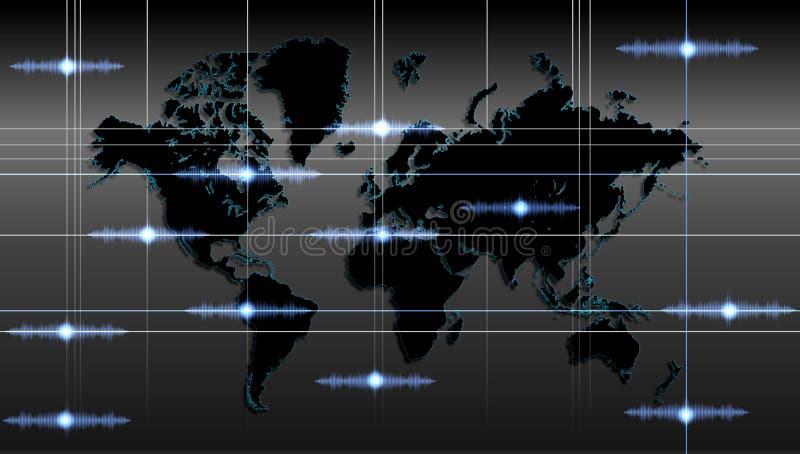 De technologieachtergrond van de wereldkaart Vector illustratie vector illustratie
