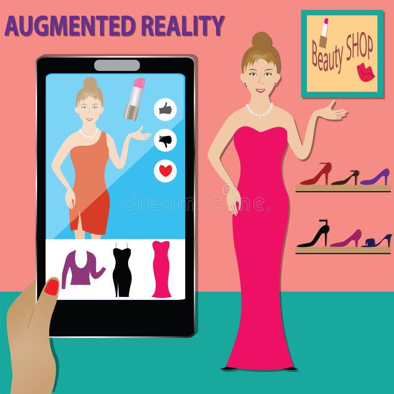 De technologieconcept van AR, de Gebruikte winkel van de de technologieschoonheid van AR - vector vector illustratie