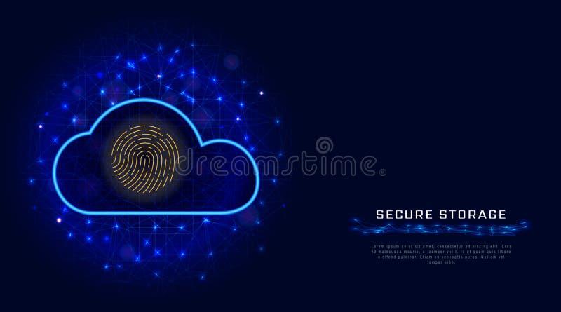 De technologieconcept van de Cyberveiligheid Beveilig de gegevensbescherming van de wolkenopslag met het biometrische pictogram v stock illustratie