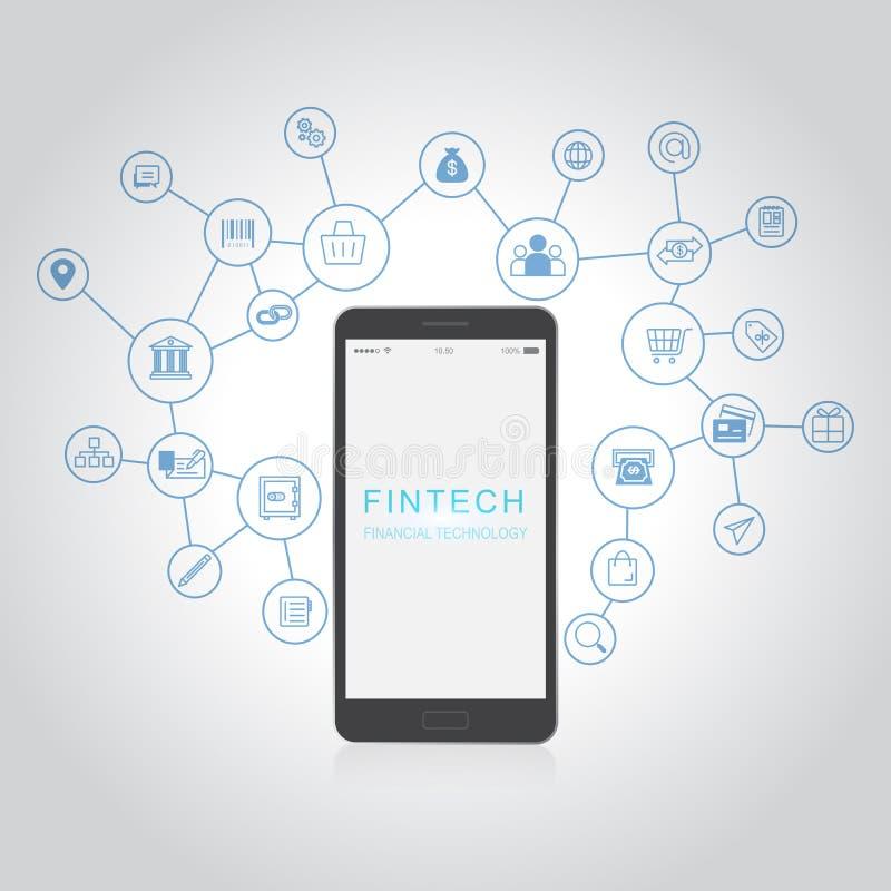 De Technologieconcept van Internet van de Fintechinvestering Financieel royalty-vrije illustratie