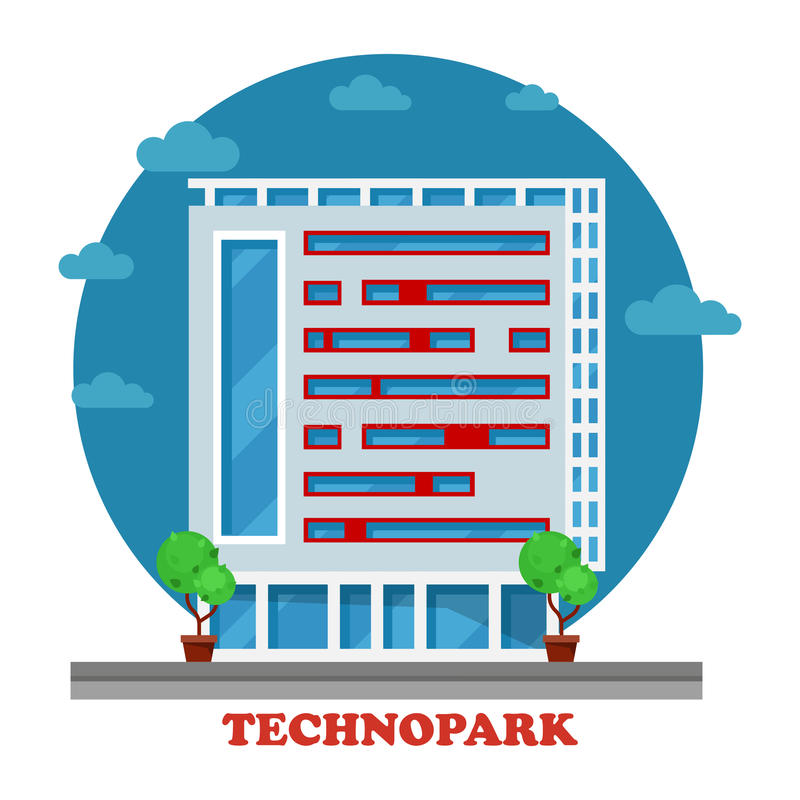De Technoparkbouw in technocity voor IT firma royalty-vrije illustratie