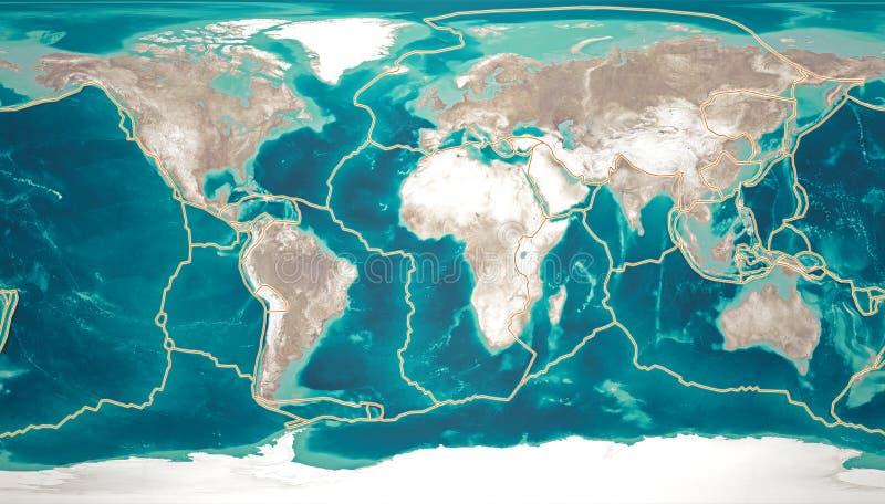 De tectonische platen bewegen zich constant, makend nieuwe gebieden van oceaanbodem, bouwend bergen, veroorzakend aardbevingen, e vector illustratie