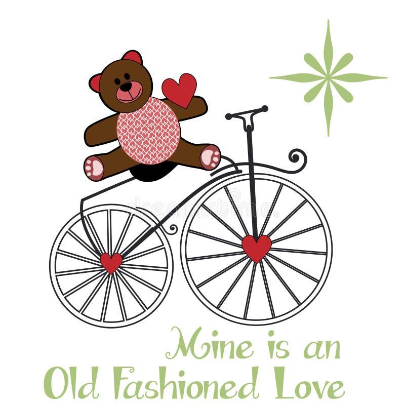 De teddybear zitting van Valentine op een oude manierfiets stock illustratie