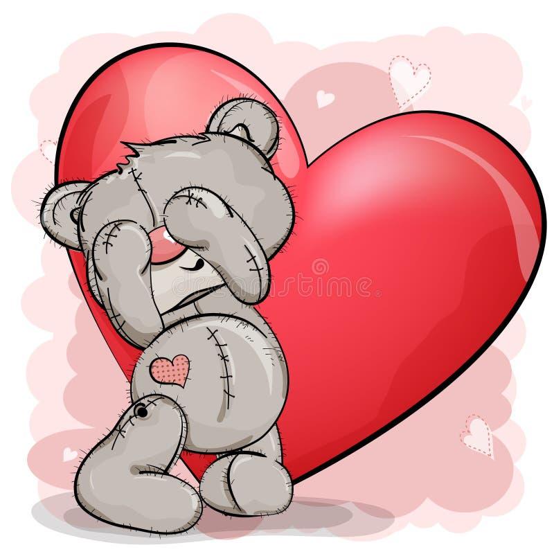 De teddybeer bevindt zich met zijn gesloten ogen, en achter hem een groot rood stock afbeelding