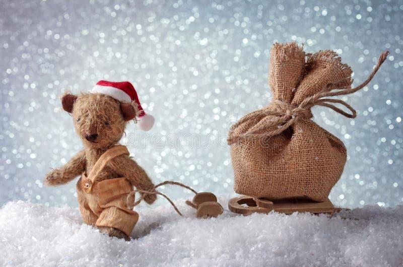 De teddybeer van de kerstman stock afbeelding