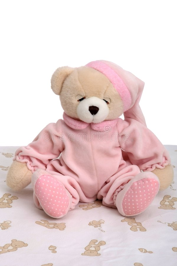 De Teddybeer van de Tijd van het bed royalty-vrije stock afbeeldingen