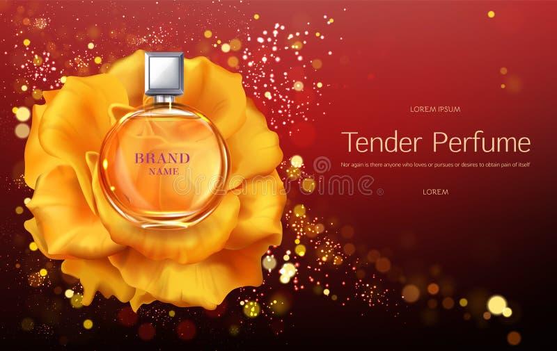 De tedere banner van parfum 3d realistische vectorpromo royalty-vrije illustratie