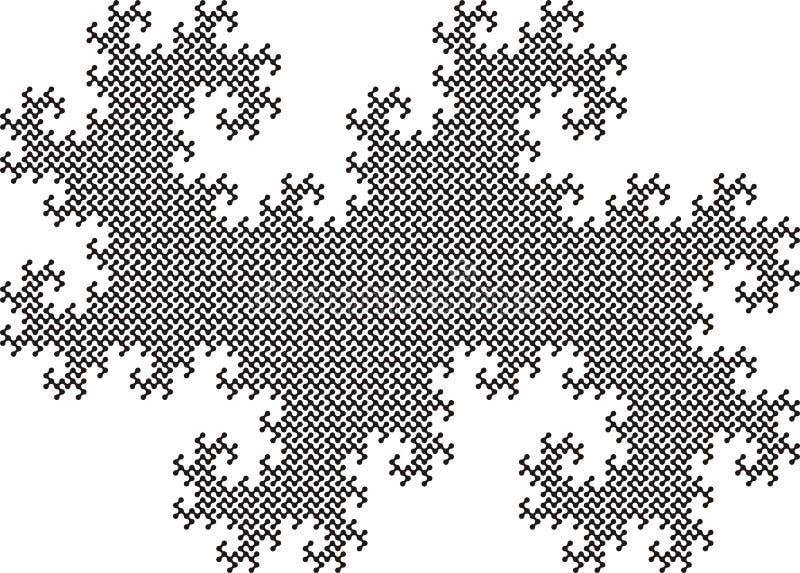 De tegel van Fractel van Twindragon, 14de herhaling stock illustratie
