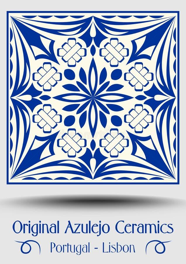 De tegel van het majolicaaardewerk, blauwe en witte azulejo vector illustratie