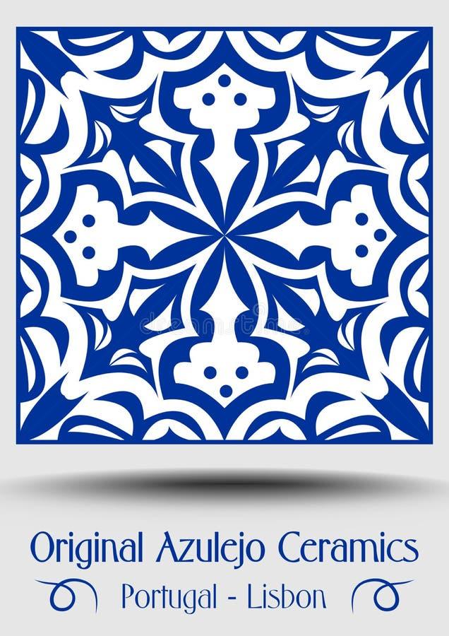 De tegel van het majolicaaardewerk, blauwe en witte azulejo, het originele traditioneel Portugese en decor van Spanje stock illustratie