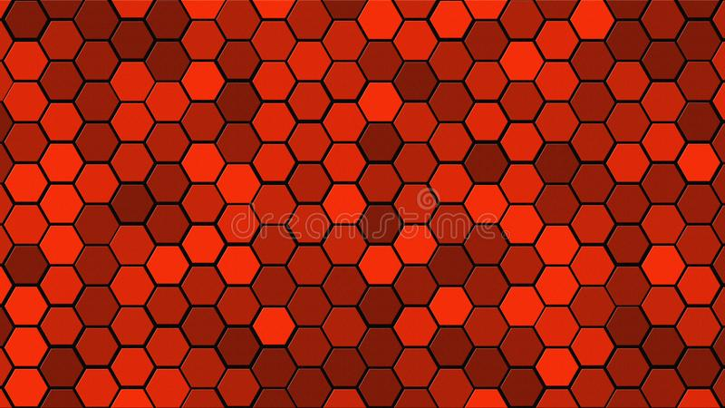 De tegel willekeurige achtergrond van het honingraatnet of Hexagonale celtextuur in kleuren Helder Rood met donkere of zwarte gra stock illustratie