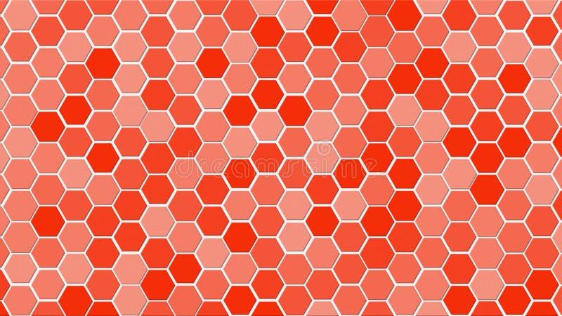 De tegel willekeurige achtergrond van het honingraatnet of Hexagonale celtextuur in kleuren Helder Rood met gradiënt tecnologycon vector illustratie